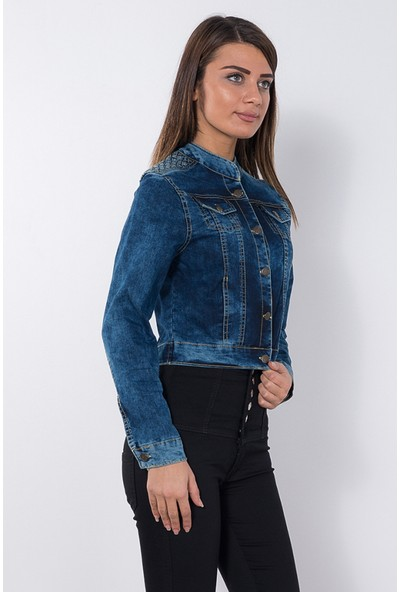 Modaverda Bayan Omuz Örgülü Kot Ceket Açık Mavi Renk