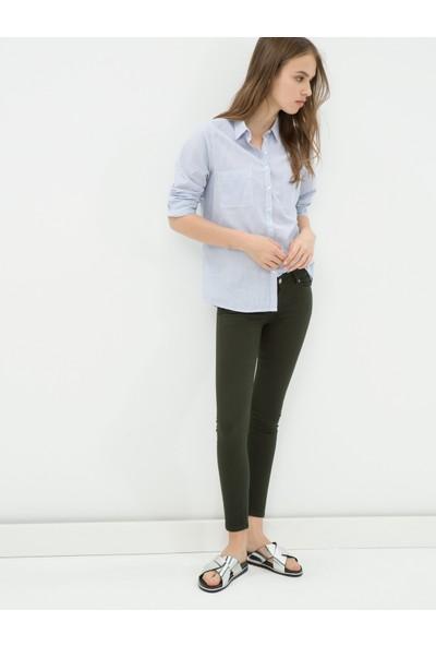 Ole Kadın Dar Kesim Pantolon Yeşil