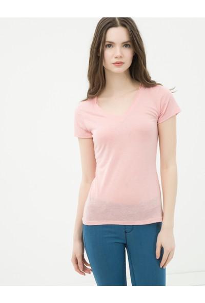 Ole Kadın V Yaka T-Shirt Gül Rengi