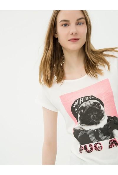 Ole Kadın Baskılı T-Shirt Beyaz
