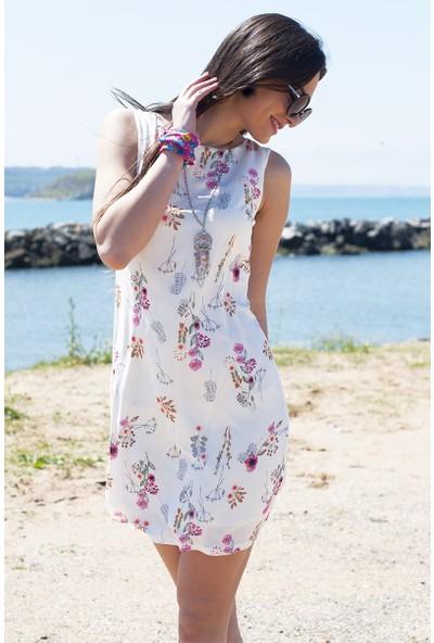 Sofistiqe Kolyeli Çiçekli Elbise