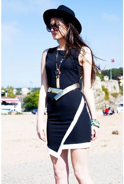 Sofistiqe Kemerli Siyah Elbise