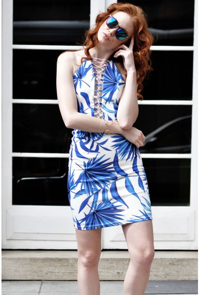 Sofistiqe Mavi yaz elbisesi