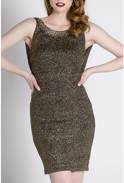 Sofistiqe Gold Simli Kısa Elbise