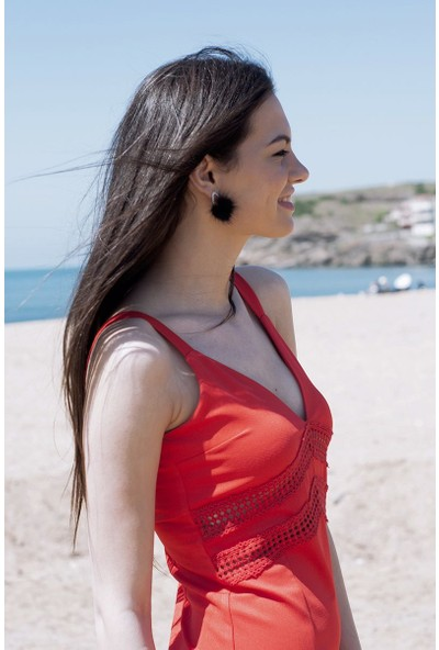 Sofistiqe Kırmızı Bel Detaylı Elbise