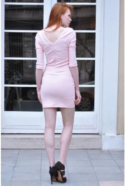 Sofistiqe Açık Pembe Yarım Kol Elbise