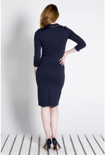 Sofistiqe Lacivert Örme Elbise
