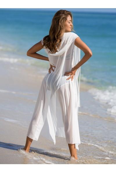 Ayyıldız 12080 Beyaz Uzun Plaj Elbisesi