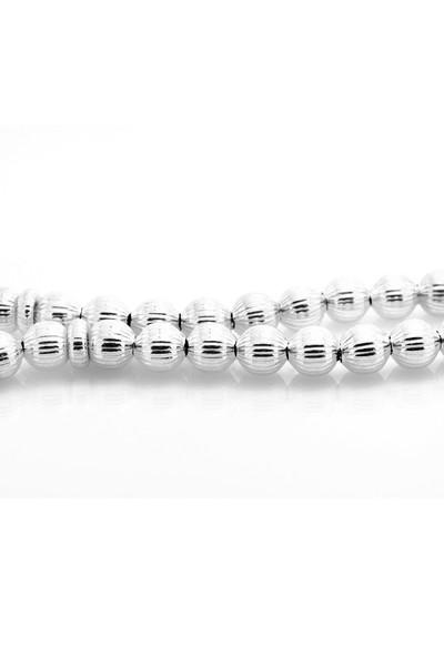 Chavin Lazer Kesim Çizgili 925 Ayar Gümüş 7 mm. Tesbih ca06