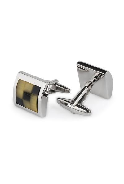 Chavin Sarı Sedef Çelik Erkek Kol Düğmesi cn76