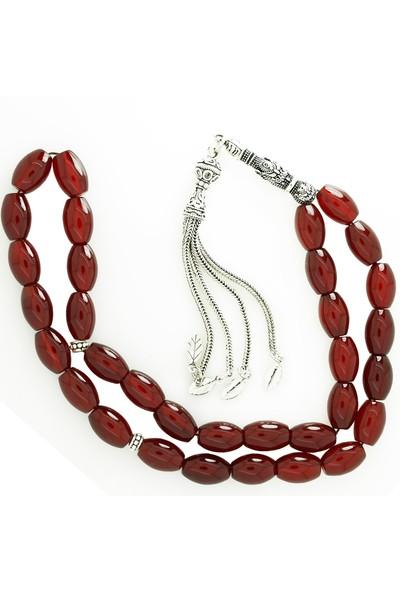 Chavin Kırmızı Agate Gümüş Tesbih cn64