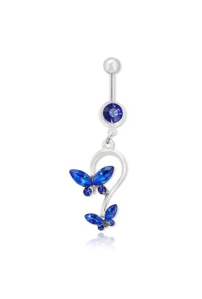Chavin Çift Mavi Taşlı Kelebek Göbek Piercing da74