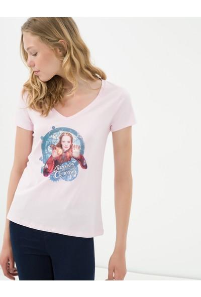 Ole Kadın Baskılı T-Shirt Gül Rengi