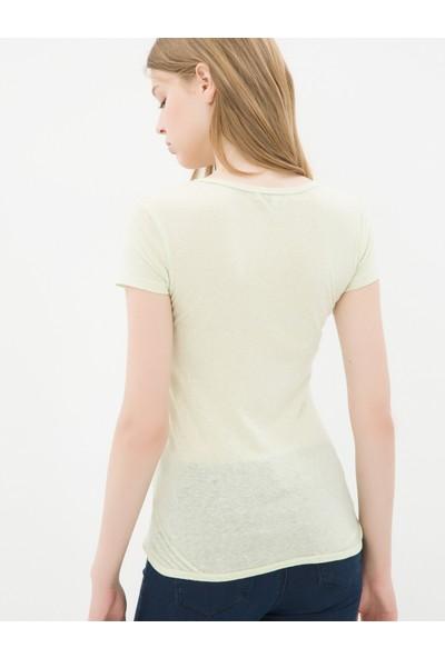 Ole Kadın Oyuk Yaka T-Shirt Yeşil