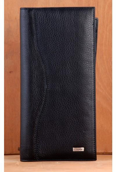 Grande 1361 Hakiki Deri Çek Cüzdanı Siyah