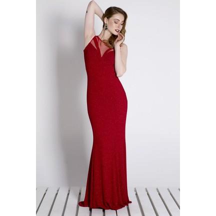 97957aadfa589 Sofistiqe Kırmızı Simli Uzun Abiye Elbise Fiyatı