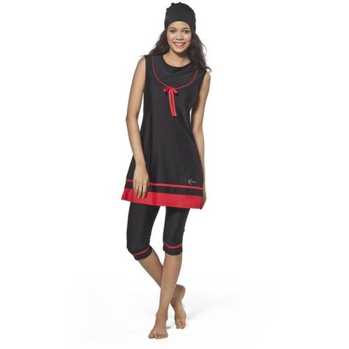 Full Likralı Taytlı Havuz Mayo - 212408 - Siyah Kırmızı - Adasea