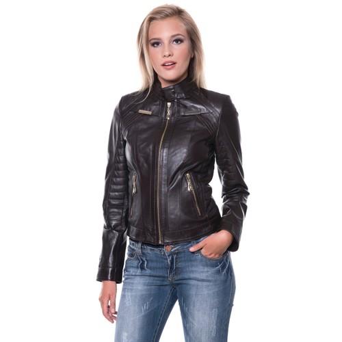 İparelde B2336 Bayan Siyah Deri Ceket