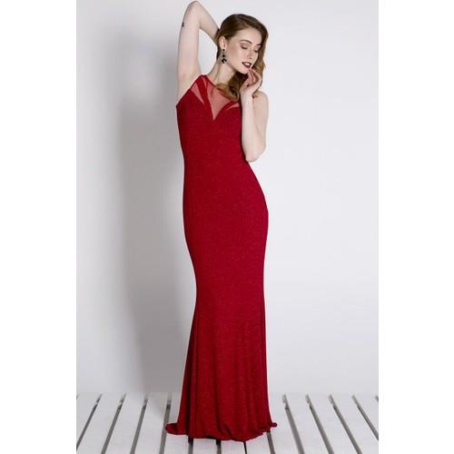 Sofistiqe Kırmızı Simli Uzun Abiye Elbise