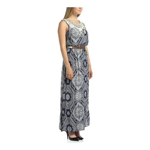 Lir Büyük Beden Kadın Desenli Kolsuz Elbise 1180
