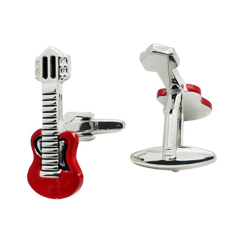 Chavin Kırmızı Gitar Çelik Erkek Kol Düğmesi cy92