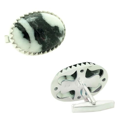 Chavin Meksika Jasper Taşlı Gümüş Kol Düğmesi cn19