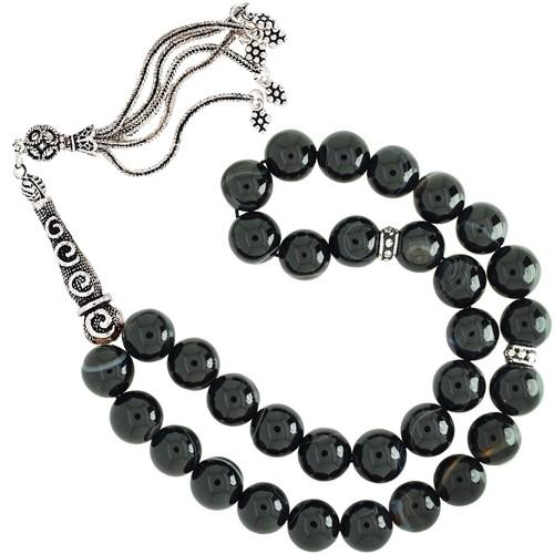 Chavin 10 mm. Siyah Agate Akik Gümüş Tesbih cf57