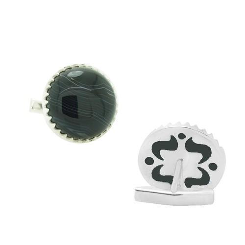 Chavin Fluorite Taşlı Gümüş Kol Düğmesi cm34