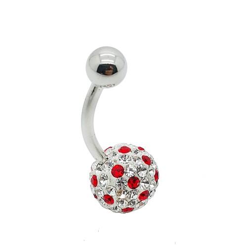 Chavin Kırmızı-Beyaz Taşlı Çelik Göbek Piercing v08-6