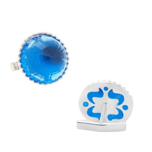 Chavin Mavi Zirkon Taşlı Gümüş Kol Düğmesi ca99