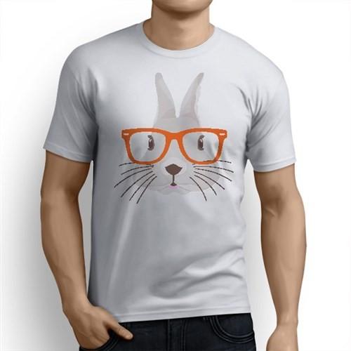 BuldumBuldum Gözlüklü Tavşan T-Shirt - Erkek Bisiklet Yaka
