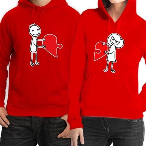 BuldumBuldum Kapşonlu Sevgili Sweatshirtleri - Kırmızı - Birleşen Kalpler