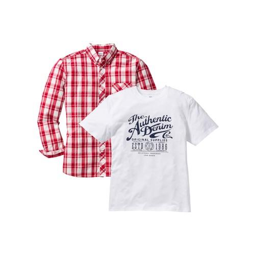 John Baner Jeanswear Kırmızı 2 Parça Set: Gömlek + T-Shirt Regular Fit