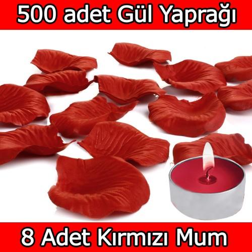 Chavin 500 Adet Gül Yaprağı-Gül Yaprakları-Kırmızı Mum