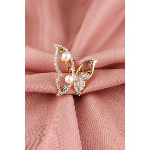 Çınar E-Ticaret Gold Parlak Taşlı Kelebek Tasarımlı Bayan Broş