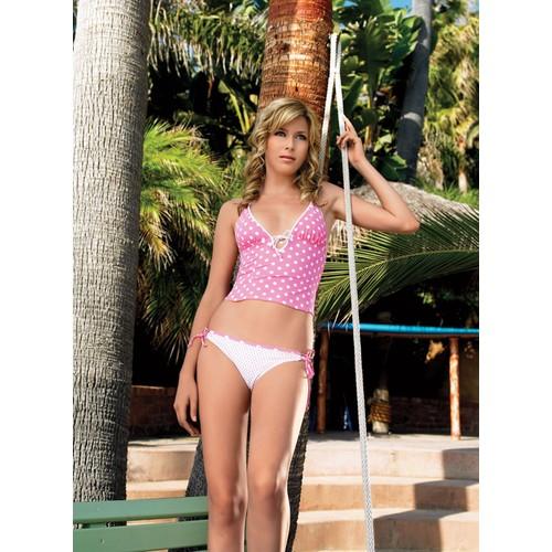 Leg Avenue Pembe Puantiyeli Bikini 61009pmm