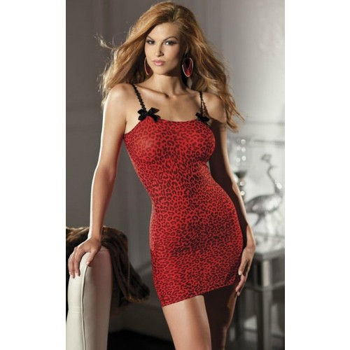 Miss Lancy Leopar Desen Askılı Kırmızı Babydoll mly262