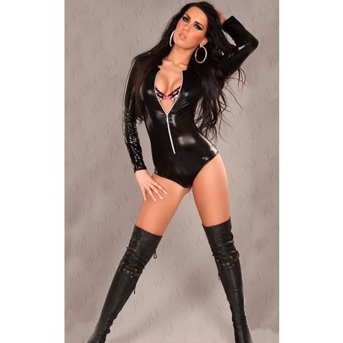 Miss Lancy Latex Görünümlü Parlak Fermuarlı Body mly369