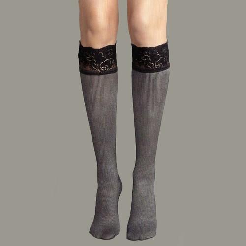 Veneziana Siyah Silikonlu Dizaltı Çorap PIZZO KRISTA NERO