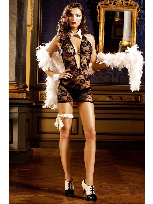 Miss Lancy Gül Desenli Göğüs Kısmı Tokalı Body mly185