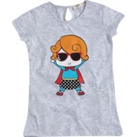 Soobe Pop Girls Süper Kız Çocuk Kısa Kol T-Shirt Gri Melanj