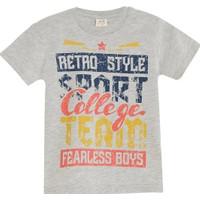 Soobe Pop Boys Yazı Baskılı Kısa Kol T-Shirt Gri Melanj 7 Yaş