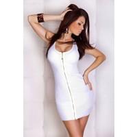 Merry See Beyaz Fermuarlı Şık Elbise