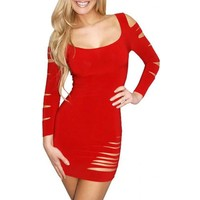 Merry See Kırmızı Lazer Kesim Seksi Elbise