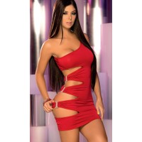 Merry See Kırmızı Taşlı Aksesuarlı Fantazi Elbise