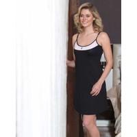 Mel Bee İp Askılı Yırtmaçlı Zakkum Elbise Siyah MBP22245-1