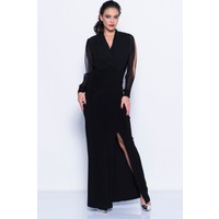 İroni Kruvaze Yaka Yırtmaçlı Lycra Uzun Siyah Elbise