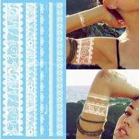 Leydika White Tattoo Beyaz Geçici Metalik Dövme 299