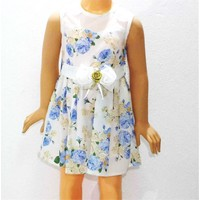 Himms Mavi Çiçekli Kız Elbisesi 1-6 Yaş