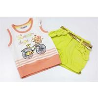 Kts Baby 3780 Bisiklet Baskılı T-Shirt Gabardin Şort Kız Takımı